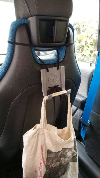 BMW i3 / i3s Headrest Double Bag Hooks for shoe laces